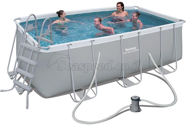 בריכת שחייה מלבנית Bestway Power Steel Frame Pools 412x201x122 כולל משאבה