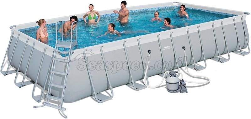 בריכת שחייה מלבנית Bestway Power Steel Frame Pools 732x366x132 כולל קיט מסנן חול