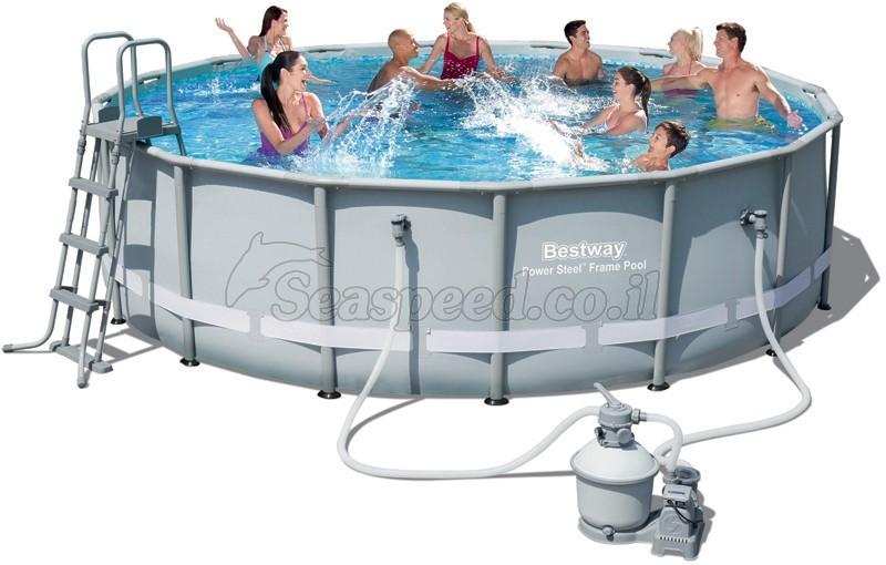 בריכת שחייה Bestway Power Steel Frame Pools 488X122 כולל משאבה ומסנן חול