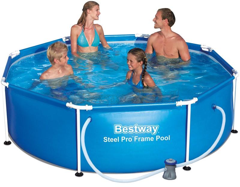 בריכת שחייה Bestway Steel Pro Frame Pools 244X61 כולל משאבה ומסנן