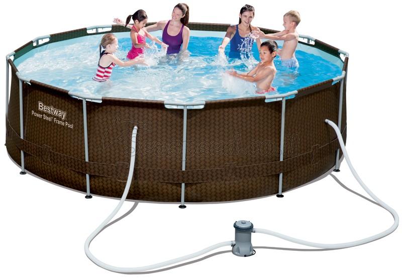 בריכת שחייה Bestway Rattan Power Steel Frame Pools 366X100 כולל משאבה ומסנן