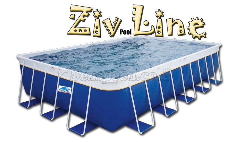 בריכת שחייה מלבנית מדגם Ziv Pool Line 856X406X132