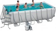 בריכת שחייה מלבנית Bestway Power Steel Frame Pools 488x244x122 כולל קיט מסנן חול