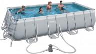 בריכת שחייה מלבנית Bestway Power Steel Frame Pools 488x274x122 כולל משאבה