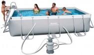 בריכת שחייה מלבנית Bestway Power Steel Frame Pools 404x201x100 כולל קיט מסנן חול