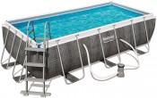 בריכת שחייה מלבנית דמוי ראטן Bestway Power Steel Frame Pools 404x201x100 כולל משאבה