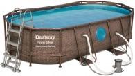 בריכת שחייה אובאלית Bestway Rattan Power Steel Frame Pools 427x250x100 כולל משאבה
