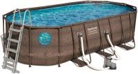 בריכת שחייה אובאלית Bestway Rattan Power Steel Frame Pools 549X274X122 כולל משאבה