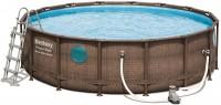 בריכת שחייה Bestway Rattan Power Steel Frame Pools 488X122 כולל משאבה ומסנן