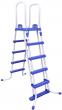 """סולם מתכת חמש שלבים עם מעלה מדרגות נשלף דו צדדי  A לבריכה בגובה 132 ס""""מ דגם 58332"""