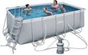 בריכת שחייה מלבנית Bestway Power Steel Frame Pools 412x201x122 כולל קיט מסנן חול