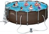 בריכת שחייה Bestway Rattan Power Steel Frame Pools 427X122 כולל משאבה ומסנן