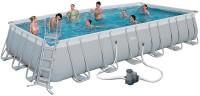 בריכת שחייה מלבנית Bestway Power Steel Frame Pools 732x366x132 כולל משאבה