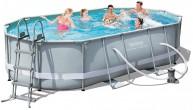 בריכת שחייה אובאלית Bestway Power Steel Frame Pools 488x305x107 כולל משאבה