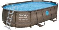 בריכת שחייה אובאלית Bestway Rattan Power Steel Frame Pools 488X305X107 כולל משאבה