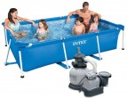 """בריכת שחיה משומשת(יד שניה)   Frame Pool  220X150X60 עם מסנן חול Intex 0.25 כ""""ס"""