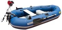 """*מבצע מיוחד !!! סירת דייג וחתירה מתנפחת Aqua Marina Classic כולל מנוע בנזין 2.5 כ""""ס Koto Motors"""